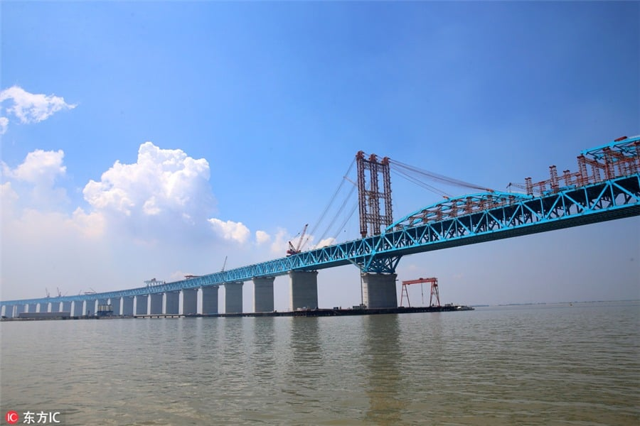 Significant milestone achieved on Shanghai-Nantong rail bridge