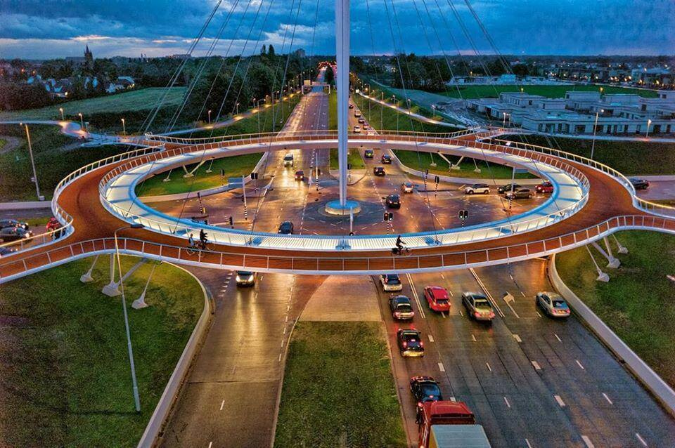 Hovenring – Floating Bike Suspension Bridge, Eindhoven, Netherlands