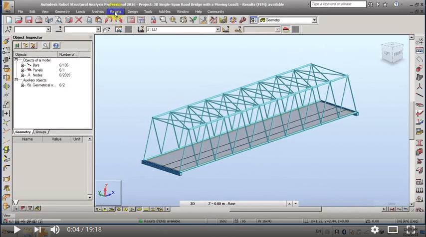 Robot Structural Analysis Single Span Road Bridge