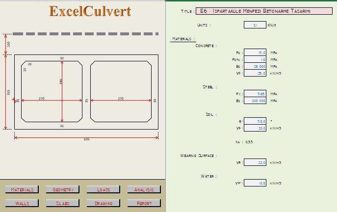 Concrete Box Culvert analysis and Design Spreadsheet