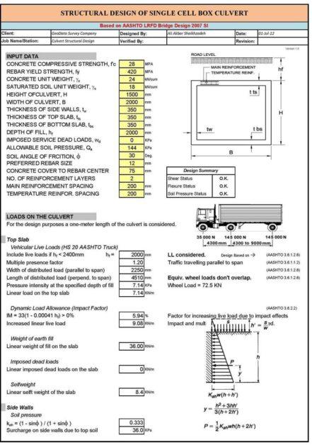 Box Culvert Design Spreadsheet