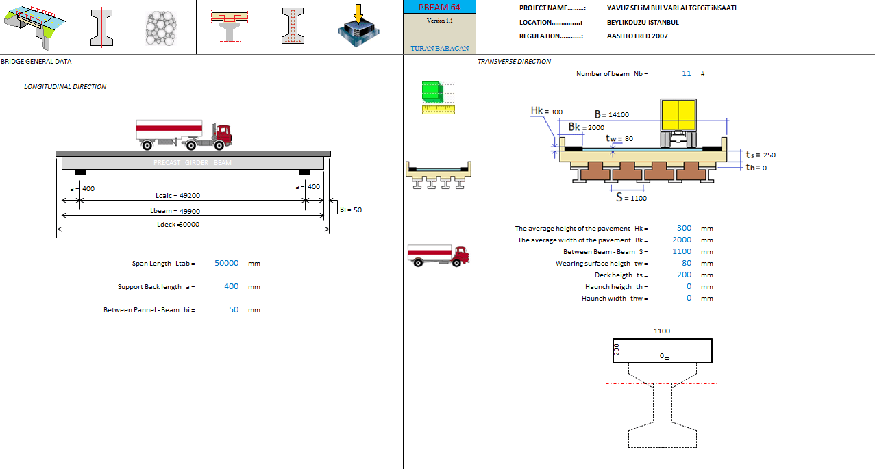 Bridge Design and Analysis Spreadsheet to AASHTO LRFD 2007