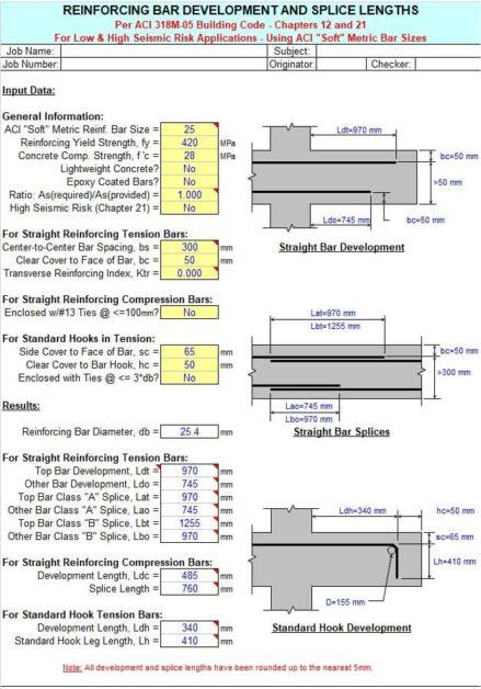 Reinforcing Bar Development and Splice Length Spreadsheet