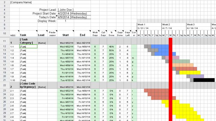 Excel Sheet to Make a Gantt Chart in Microsoft Excel 2013