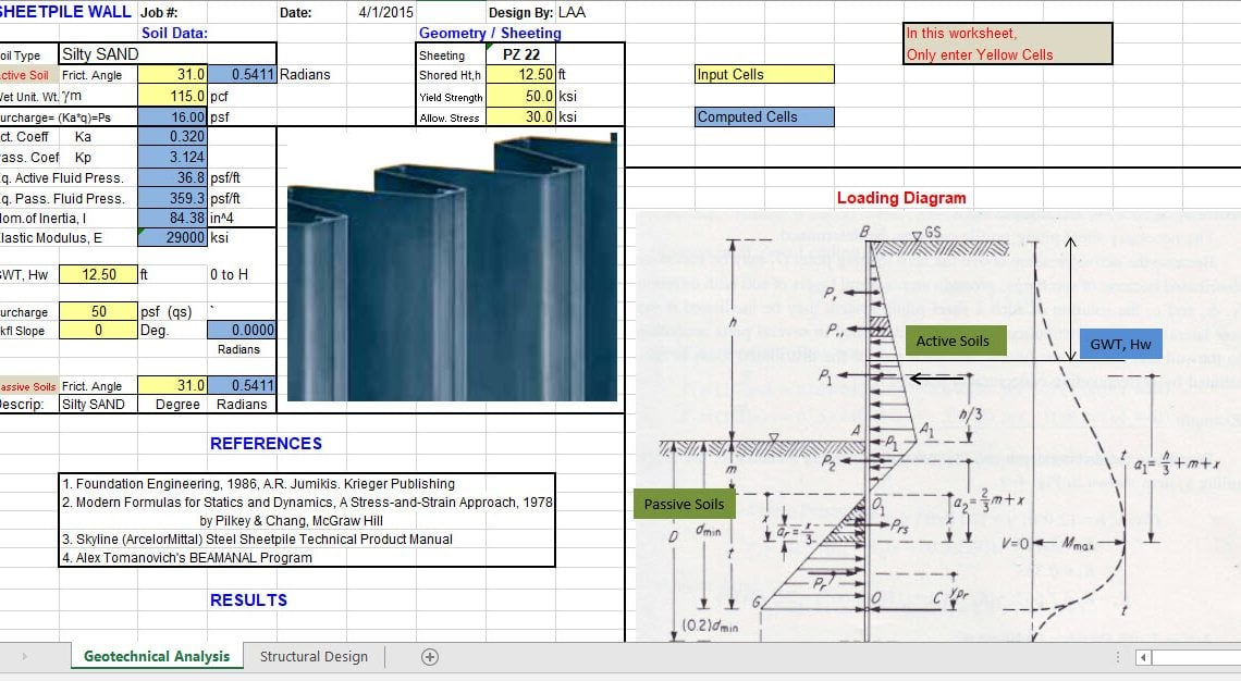 Sheet Pile Design Spreadsheet
