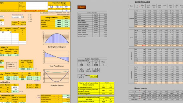 Steel Beam Design Spreadsheet to BS 5950