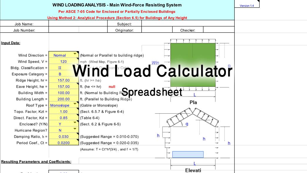wind load calculator excel spreadsheet