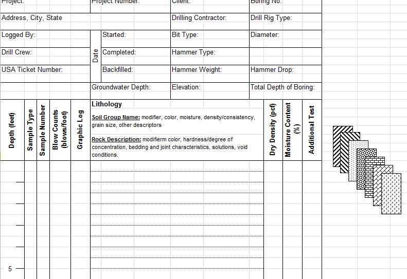 Soil Boring Log Excel Template