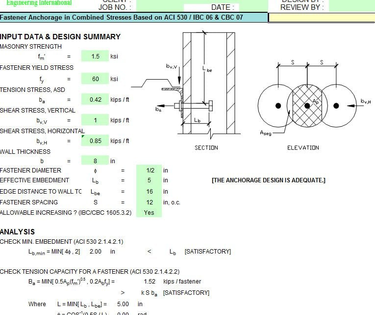 18 Masonry Design spreadsheet