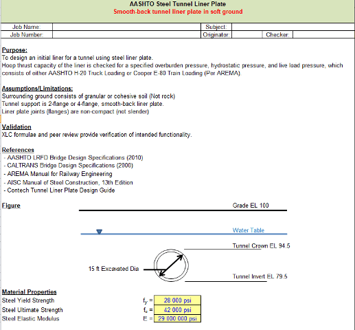 AASHTO Steel Tunnel Liner Plate spreadsheet