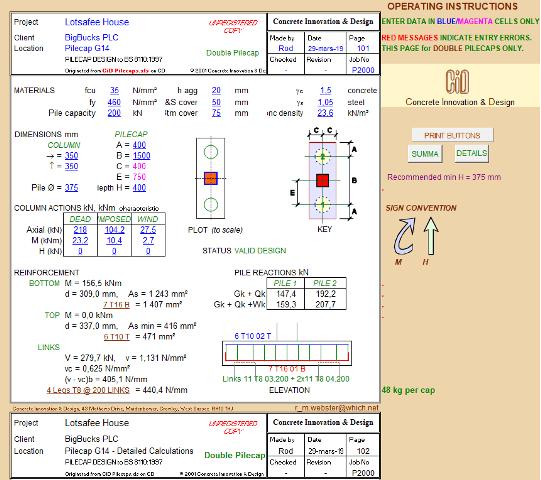 Pile Cap Design Spreadsheet to BS 8110:1997