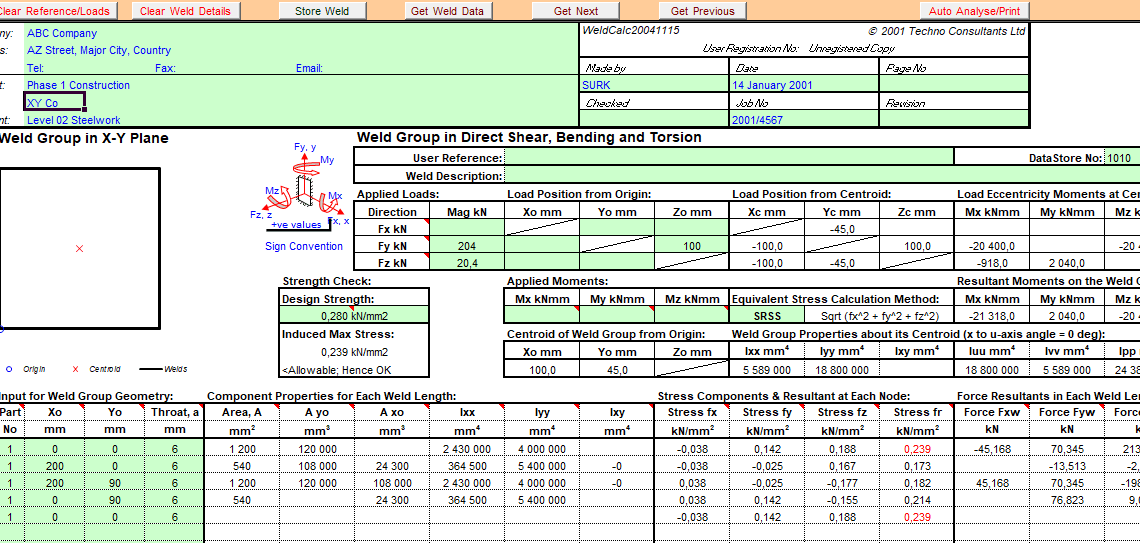 Welds in shear, bending, torsion and axial loading spreadsheet