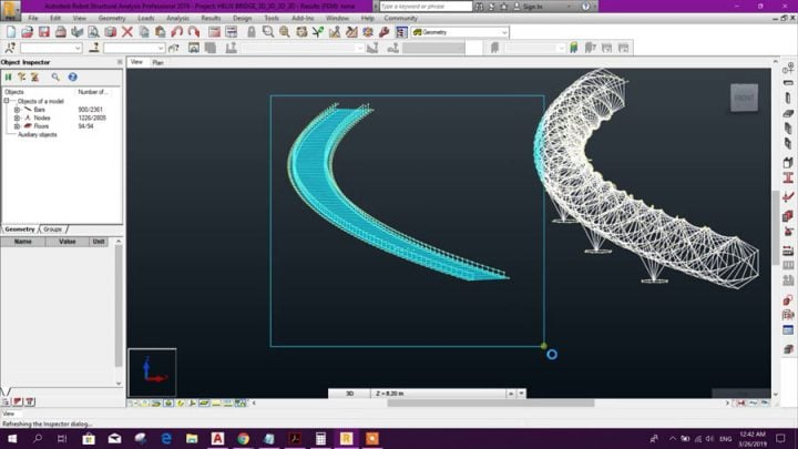 Helix Bridge Modeling in Robot Structural Analysis Using AutoCAD