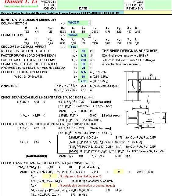 Steel Design Spreadsheet based on AISC