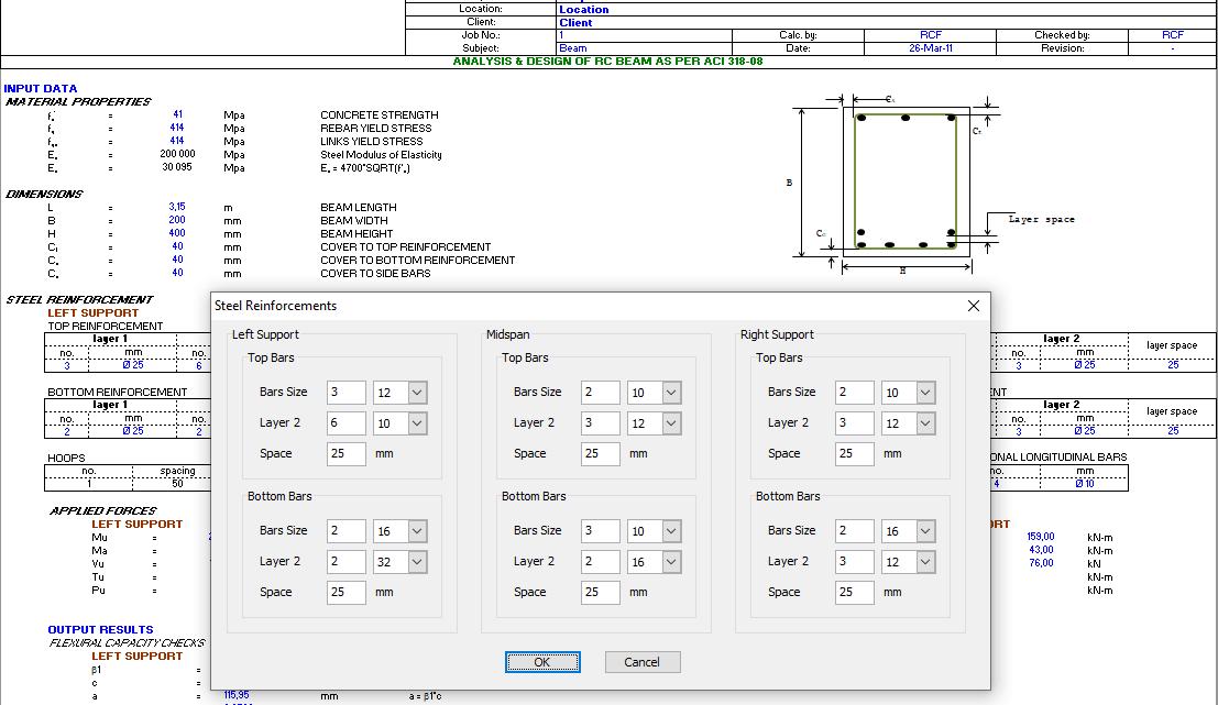 AIC318-08 RC Beam spreadsheet