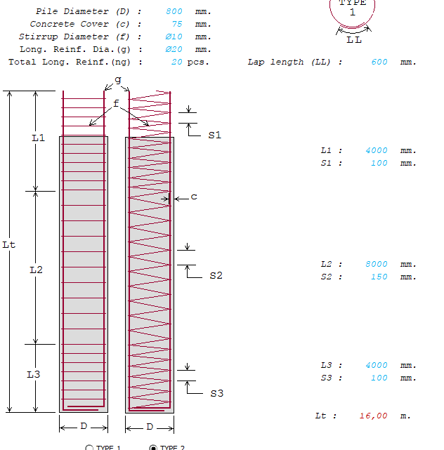 Account The Shear Size Of Bored Piles Spreadsheet