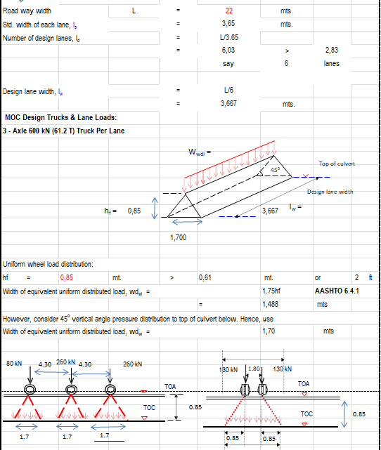 Arch Culvert Calculation Spreadsheet