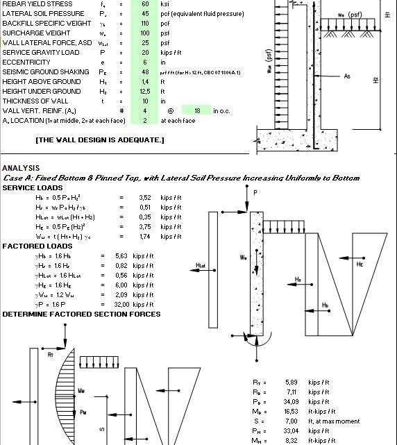 Basement Retaining Wall Design Spreadsheet