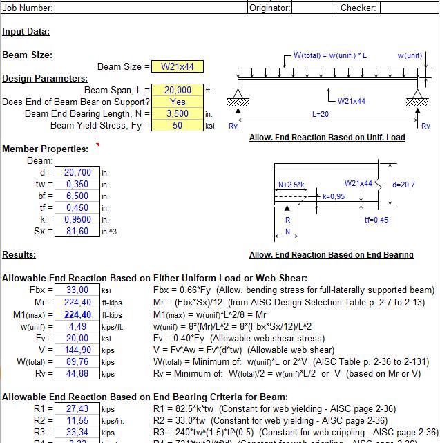 Beam reaction analysis Spreadsheet