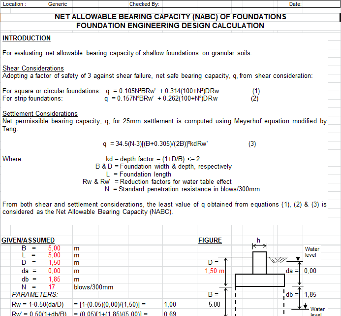 Bearning Capacity for 2006 International Building Code spreadsheet
