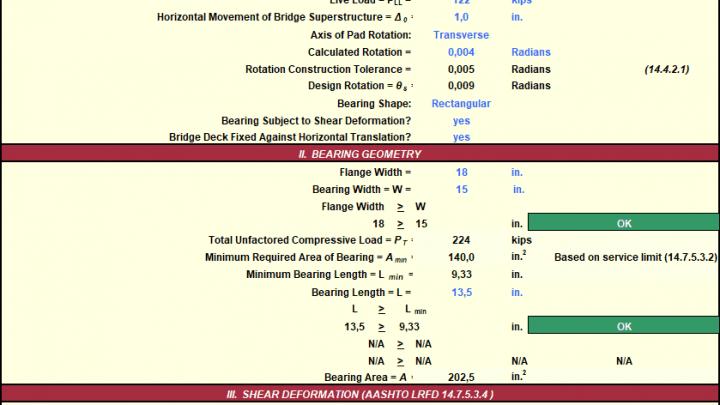 Bridge Bearing Design Method B Spreadsheet