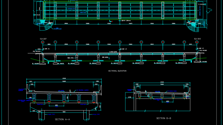 Bridge Elevations and Sections Free DWG
