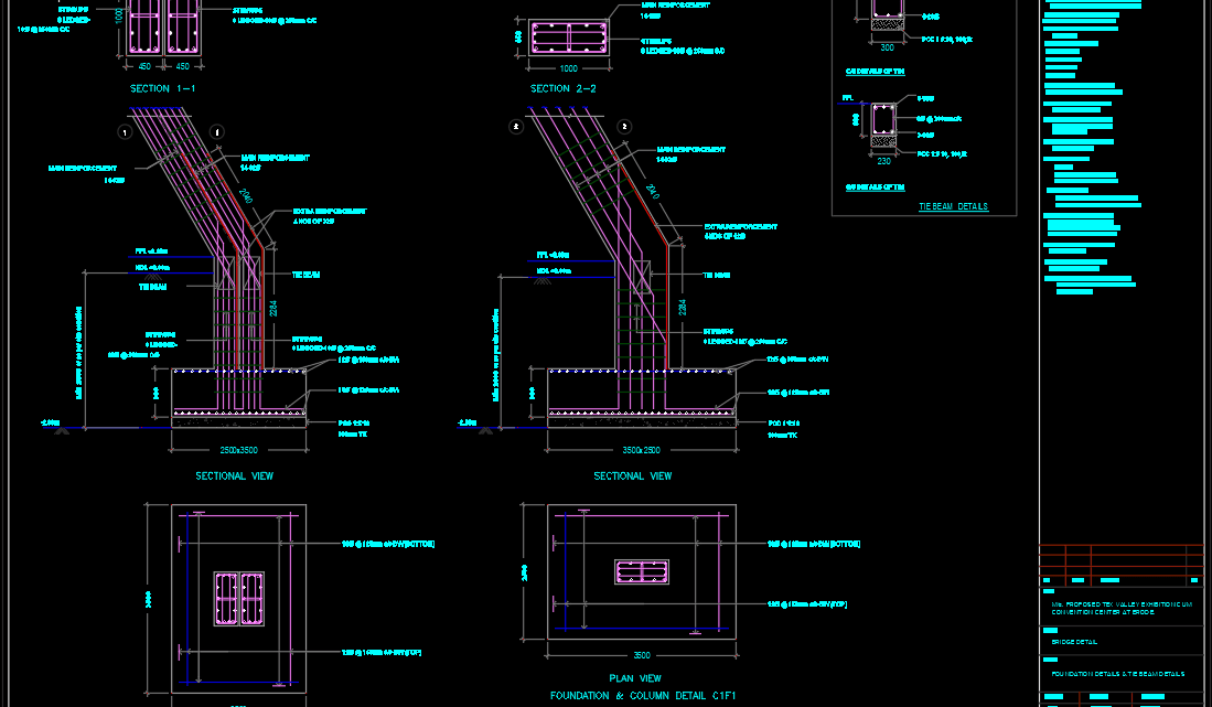 Bridge Foundation and column details Free DWG