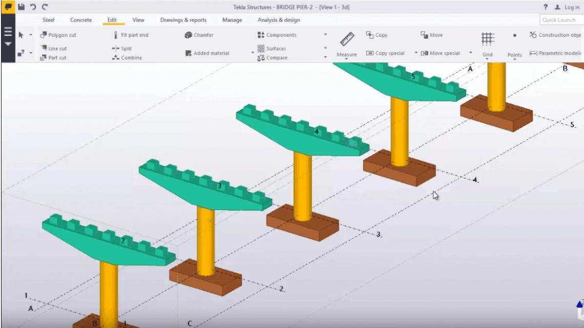 Bridge Pier and Bridge Deck Modelling in TEKLA STRUCTURES
