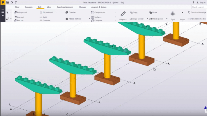 Bridge Pier and Bridge Deck Modelling in TEKLA STRUCTURES