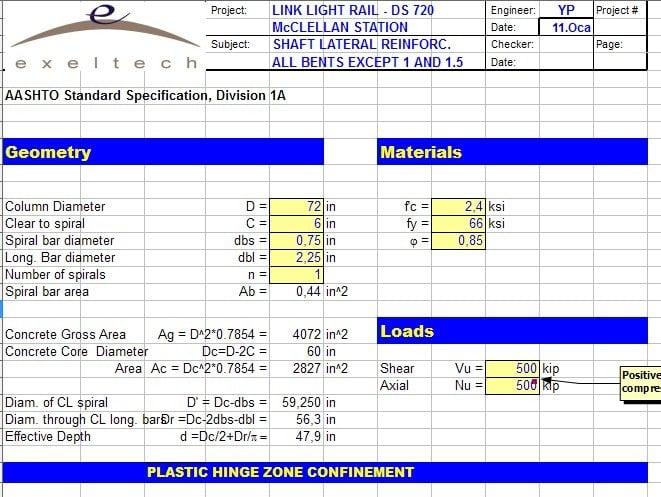 Column Shear Capacity spreadsheet