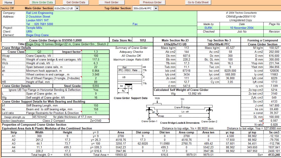 Crane Girder design Spreadsheet