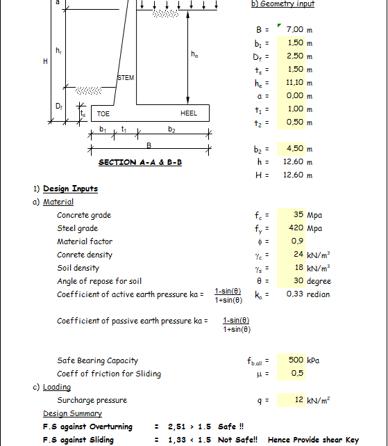 Design of cantiliver retaining wall spreadsheet