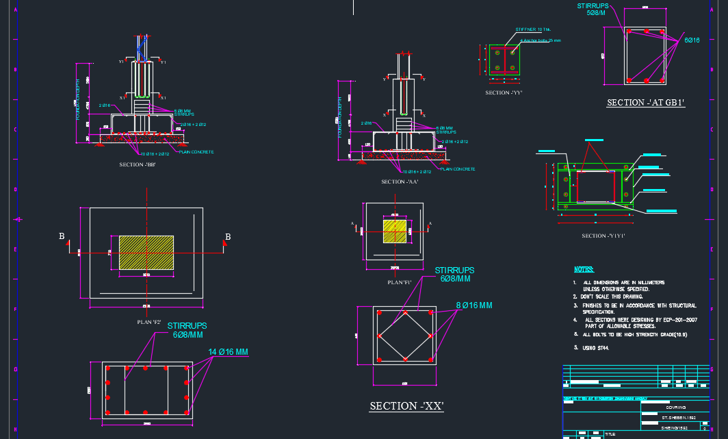 Foundation and Base connections details Free Drawing
