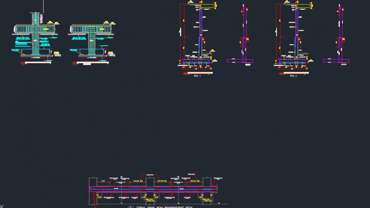 Grade beam and columns free dwg