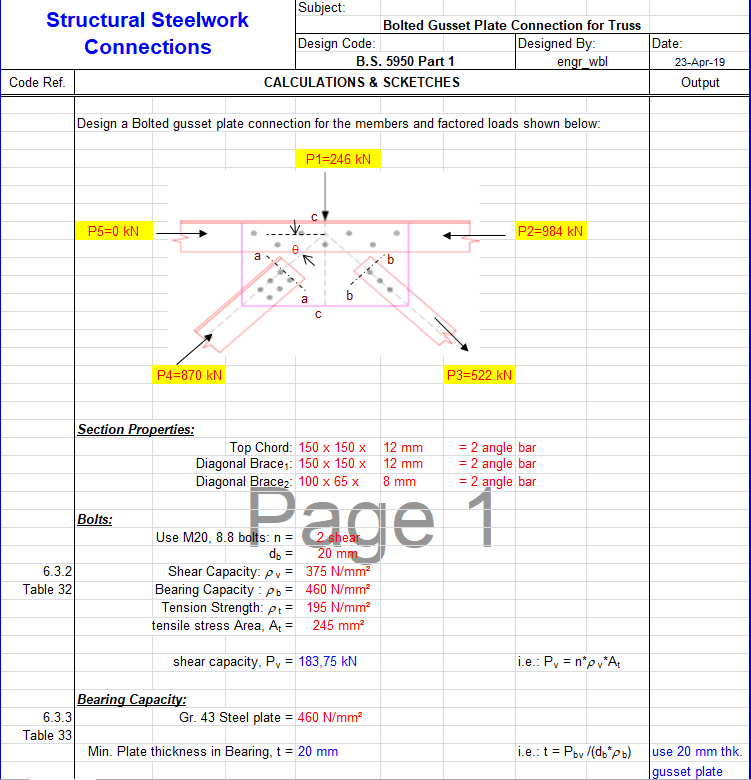 Gusset Plate Connection for Truss Spreadsheet