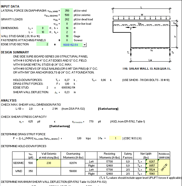 Metal Shear Wall Design spreadsheet