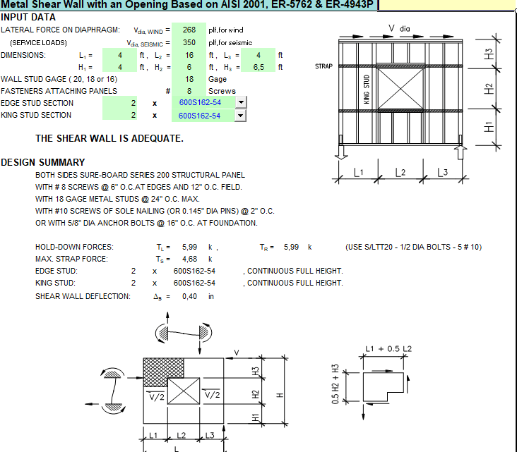 Metal Shear Wall with an Opening Spreadsheet