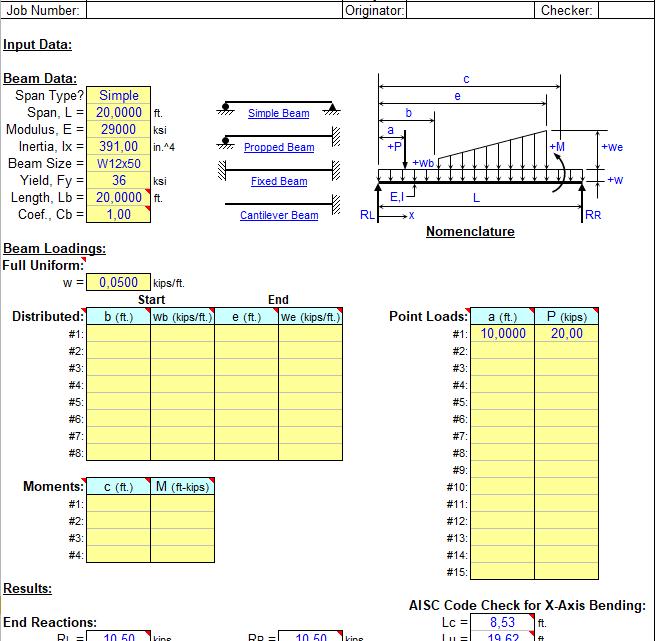 Single span beam analysis spreadsheet