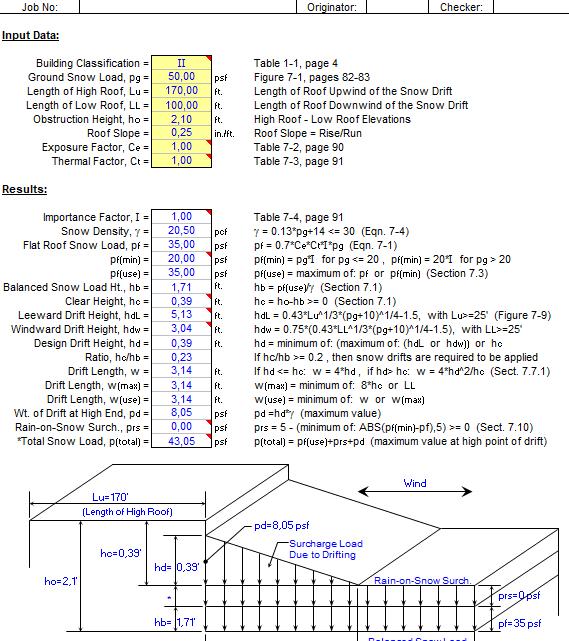 Snow Loading Analysis spreadsheet