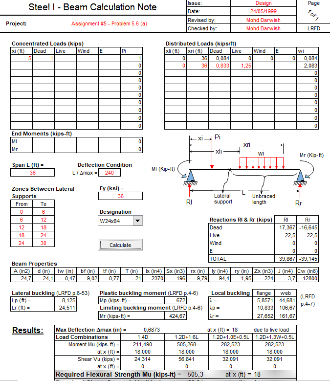 Steel Beam Calculation Note