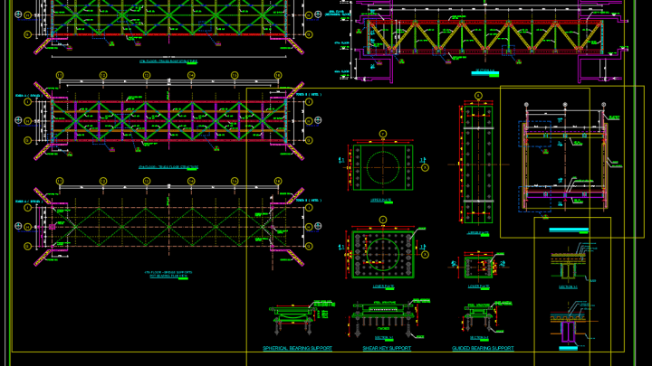 Steel Bridge details Free DWG