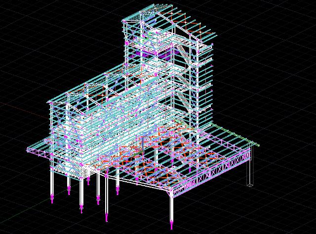 Steel Building 3D Template Free DWG