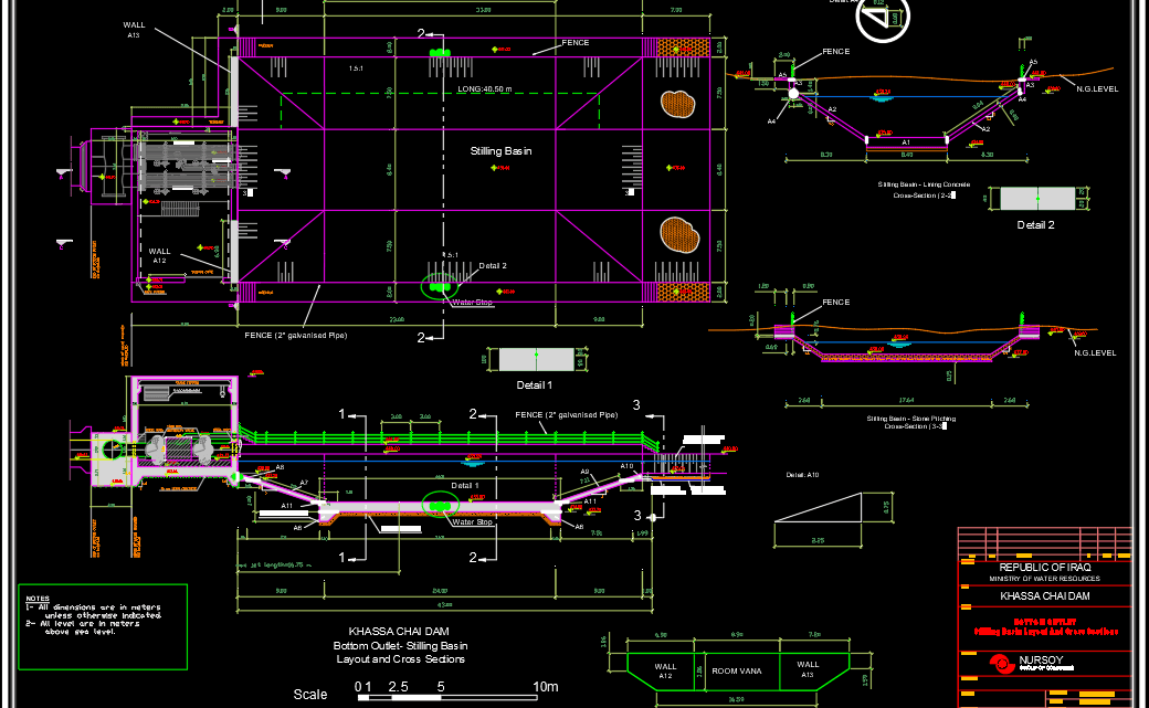 Stilling Bassin Layout and cross sections Free Drawing