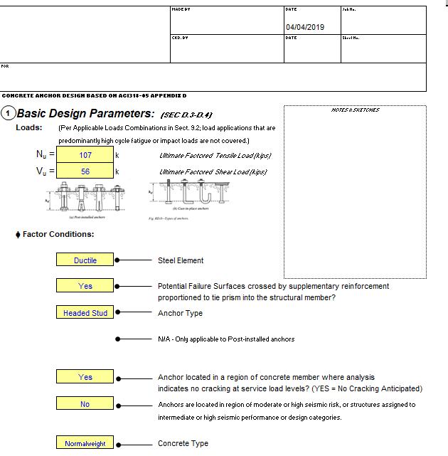Anchor Bolt Anchorage ACI 318 spreadsheet