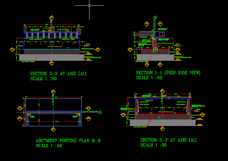 Bridge Abutment Details Autocad Drawing