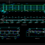 Bridge Layout Plan, Elevation and Cross section details Autocad Drawing