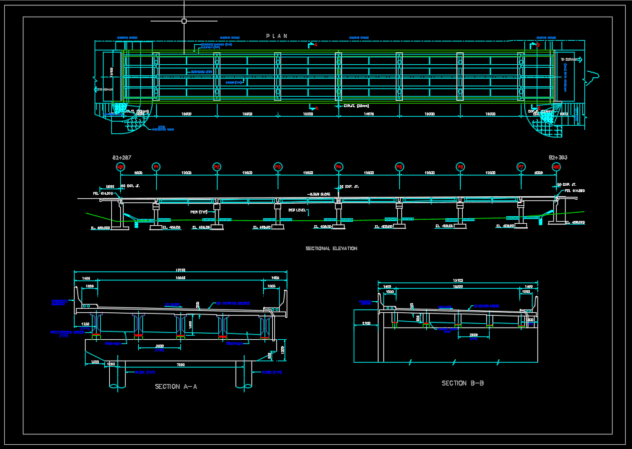 Bridge Layout Plan, Elevation and Cross section details