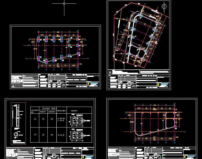 COMMERCIAL BUILDING Columns and Piles Details Autocad Drawing