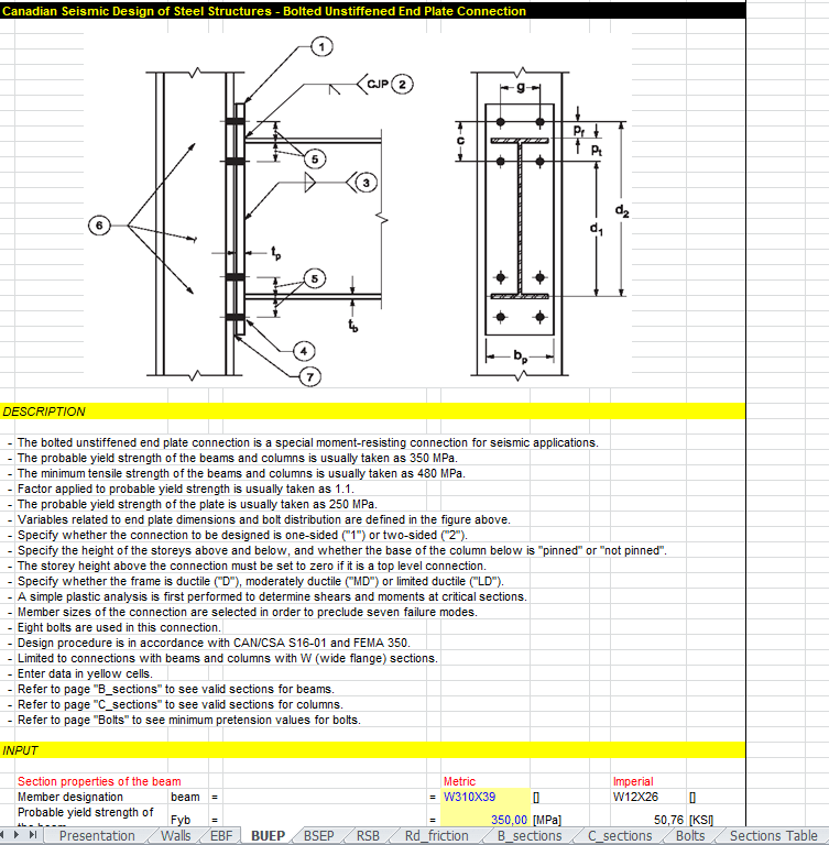 Canadian Seismic Design of Steel Structures Spreadsheet