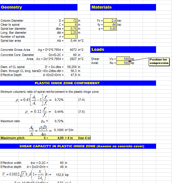 Column Shear Calculation Spreadsheet